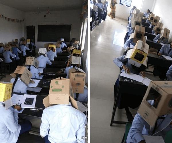 Հնդկաստանում ուսանողները քննություն են հանձնել՝ գլուխները արկղերով ծածկված