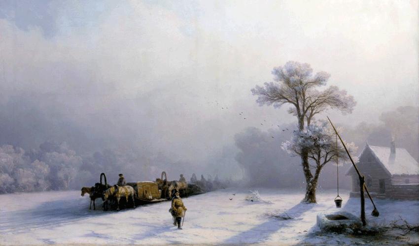 Зимний обоз в пути. 1857 год.