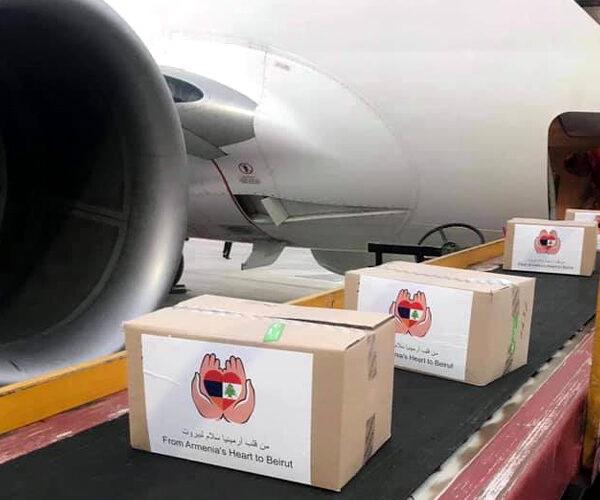 Հայաստանից մարդասիրական օգնություն տեղափոխող առաջին ինքնաթիռը հասել է Բեյրութ